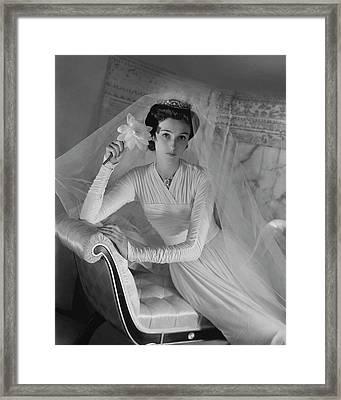 Barbara Cushing In Her Wedding Dress Framed Print