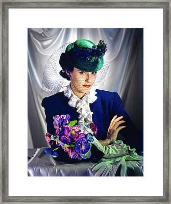 Barbara Cushing Wearing A Green Hat And Veil Framed Print