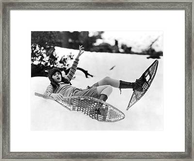 Barbara Kent Tries Snowshoeing Framed Print by Underwood Archives