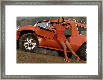 Barbara Leigh Wearing A Red Shirt And Short Framed Print