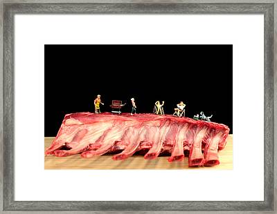 Barbecue On Lamb Ribs Framed Print by Paul Ge