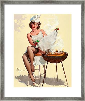 Barbecue Pin-up Girl Framed Print