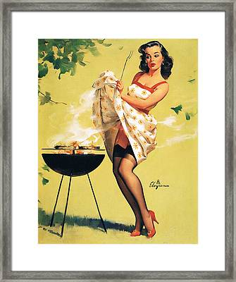 Barbecue Time - Retro Pinup Girl Framed Print