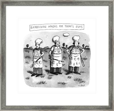 Barbecuing Aprons For Today's Guys Framed Print