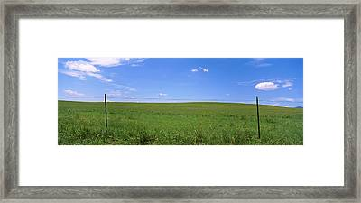 Barbed Wire Fence In A Field, San Framed Print by Panoramic Images