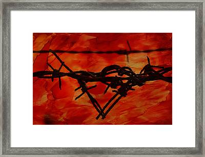 Barbed Wire Love Series  Rage Framed Print by Lesa Fine