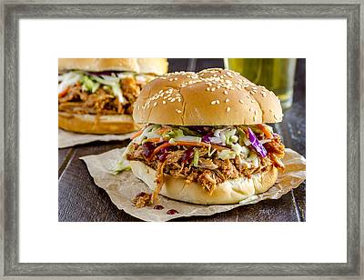 Barbeque Pulled Pork Sandwiches And Beer  Framed Print