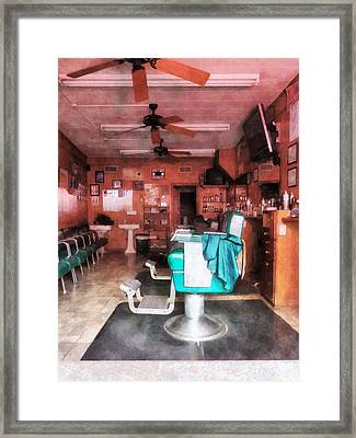 Barber - Barber Shop With Green Barber Chairs Framed Print by Susan Savad