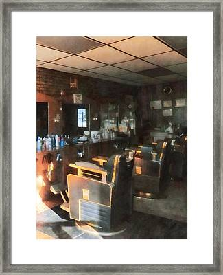 Barber - Barber Shop With Sun Streaming Through Window Framed Print by Susan Savad