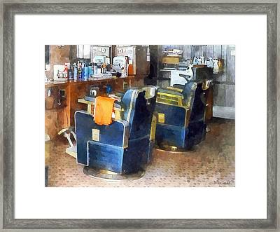 Barber Chair With Orange Barber Cape Framed Print by Susan Savad
