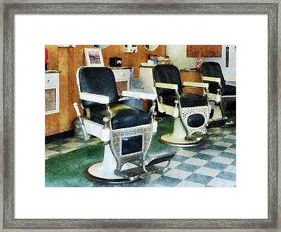 Barber - Corner Barber Shop Framed Print by Susan Savad