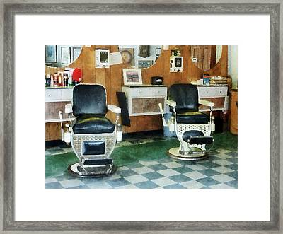 Barber - Corner Barber Shop Two Chairs Framed Print by Susan Savad