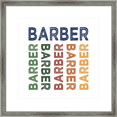 Barber Cute Colorful Framed Print by Flo Karp