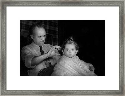 Barber - First Haircut Framed Print by Mike Savad