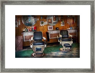 Barber - Frenchtown Nj - Two Old Barber Chairs  Framed Print by Mike Savad
