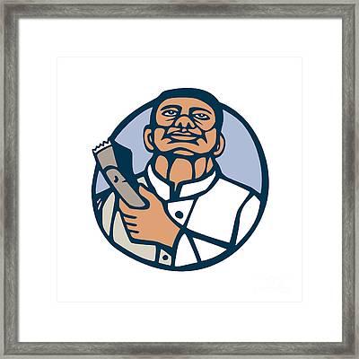 Barber Hair Clipper Scissors Circle Linocut Framed Print by Aloysius Patrimonio