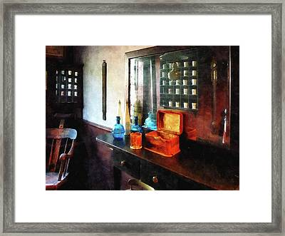 Barber - Hair Tonic And Shaving Mugs Framed Print by Susan Savad