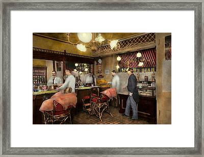 Barber - L.c. Wiseman Barbershop Ny 1895 Framed Print by Mike Savad
