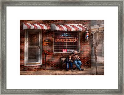 Barber - Metuchen Nj - Waiting For Mike Framed Print by Mike Savad
