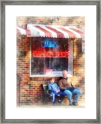 Barber - Neighborhood Barber Shop Framed Print by Susan Savad