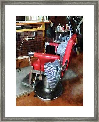 Barber - Red Barber Chair Framed Print by Susan Savad