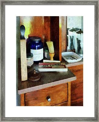 Barber - Shaving Brush And Box Of Combs Framed Print by Susan Savad