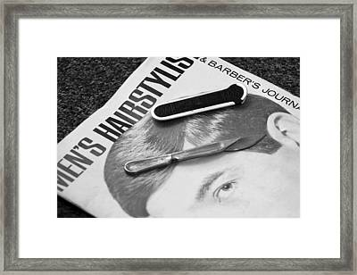 Barber Shop 16 Bw Framed Print by Angelina Vick