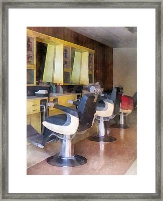 Barber - Small Town Barber Shop Framed Print by Susan Savad