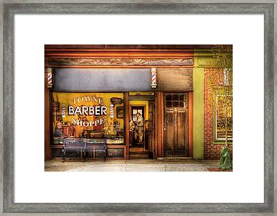 Barber - Towne Barber Shop Framed Print by Mike Savad