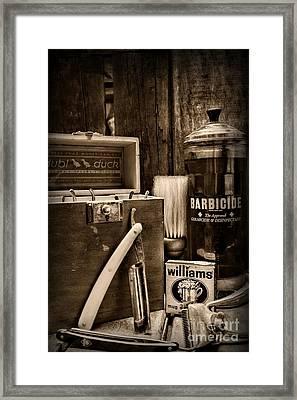Barber - Vintage Barber Tools - Black And White Framed Print by Paul Ward