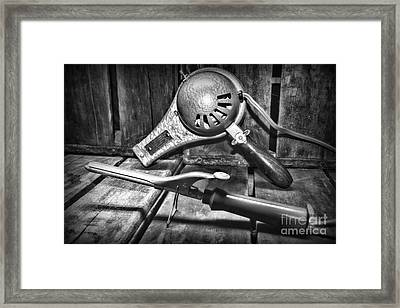 Barber - Vintage Hair Care In Black And White Framed Print