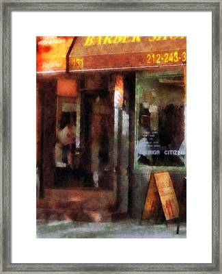 Barber - West Village Barber Shop Framed Print