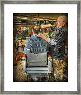 The Barber Shop Shave And A Haircut - Barber Shop Framed Print by Lee Dos Santos