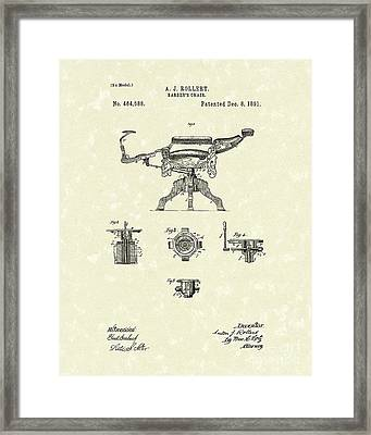 Barber's Chair 1891 Patent Art Framed Print by Prior Art Design