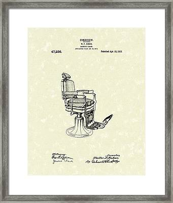 Barber's Chair 1915 Patent Art Framed Print by Prior Art Design