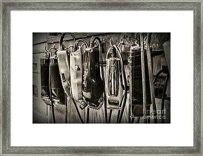Barbershop Clippers In Black And White Framed Print