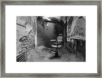 Prison Barbershop In Bw Framed Print