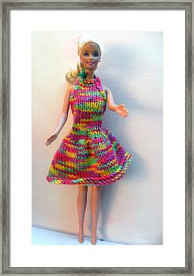 Barbie Doll In A Dress For A Summers Evening Framed Print