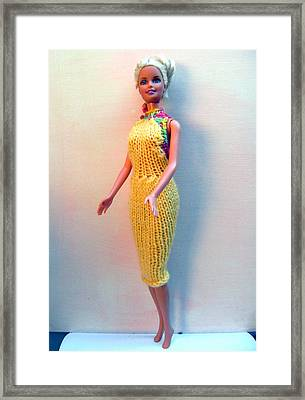 Barbie Doll In A Knitted Dress Framed Print