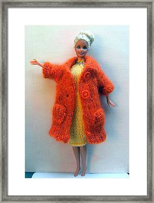 Barbie Doll In Knitted Clothes Framed Print