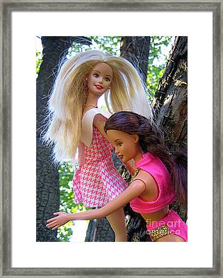 Framed Print featuring the photograph Barbie's Climbing Trees by Nina Silver