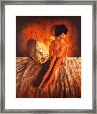 Barbie's Pear Framed Print by Karl Melton