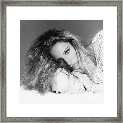 Barbra Streisand Lying Down Framed Print by Francesco Scavullo