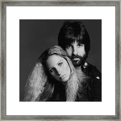 Barbra Streisand With Hair Stylist Jon Peters Framed Print