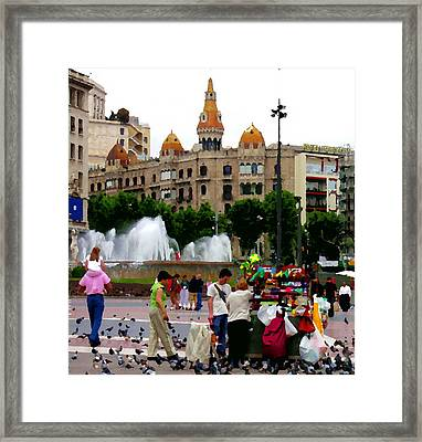 Barcelona - Abstract - Plaza De Catalunia Framed Print by Jacqueline M Lewis