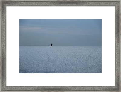 Lonely Boat In Barcelona  Framed Print