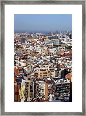 Barcelona Cityscape  Framed Print by Sophie Vigneault