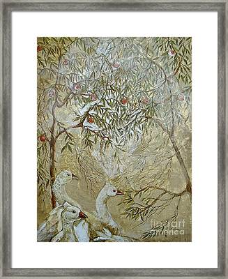 Framed Print featuring the painting Barcelona Geese by Delona Seserman