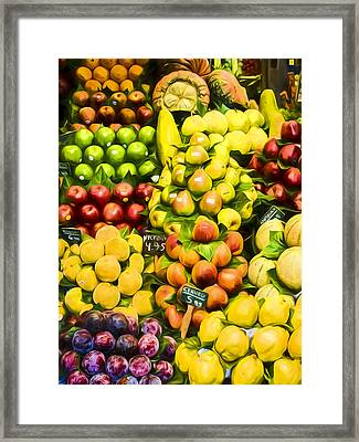 Framed Print featuring the photograph Barcelona Market Fruit by Steven Sparks