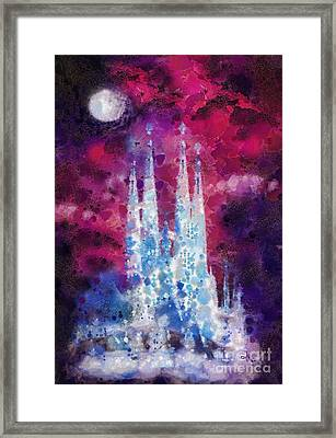 Barcelona Night Framed Print by Mo T